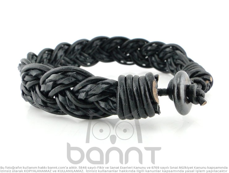 Braid Örgü Deri Bileklik (Siyah)